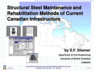 Structural Steel Maintenance and Rehabilitation Methods of Current Canadian Infrastructure