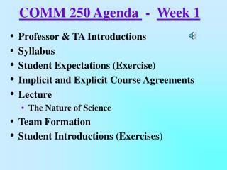 COMM 250 Agenda  -  Week 1