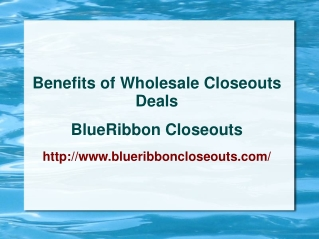 Benefits of Wholesale closeouts Deals