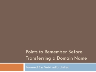 Points to Remember Before Transferring a Domain Name