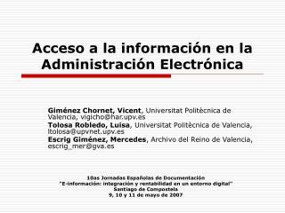 Acceso a la informaci n en la Administraci n Electr nica