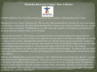 Muskoka Recovery Center: Now A Resort