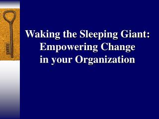 Waking the Sleeping Giant: Empowering Change  in your Organization