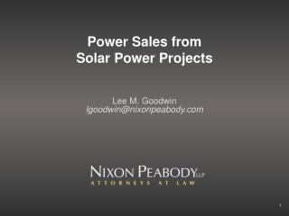 Power Sales from  Solar Power Projects