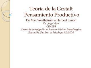 Teor a de la Gestalt   Pensamiento Productivo