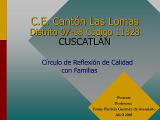 C.E. Cant n Las Lomas  Distrito 07-08 C digo 11828  CUSCATL N