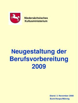 Neugestaltung der Berufsvorbereitung  2009                                                  Stand: 3. November 2008