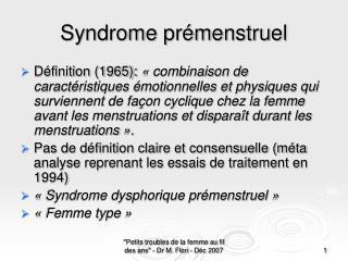 Syndrome pr menstruel