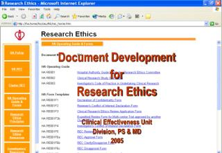Document Development  for Research Ethics    Clinical Effectiveness Unit Division, PS  MD  2005