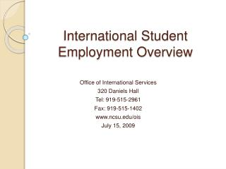 International Student Employment Overview