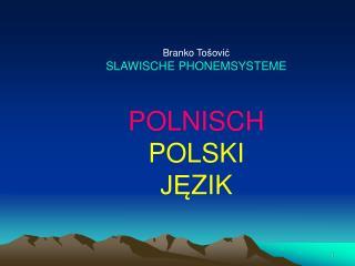 Branko To ovic SLAWISCHE PHONEMSYSTEME  POLNISCH POLSKI  JEZIK