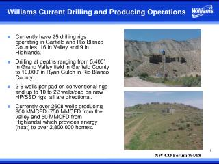 Williams Current Drilling and Producing Operations