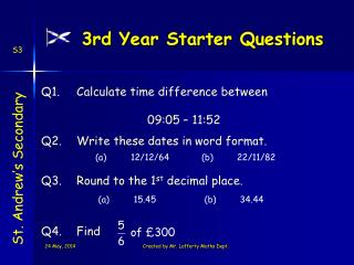 3rd Year Starter Questions