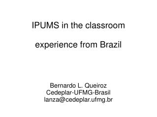 IPUMS in the classroom  experience from Brazil