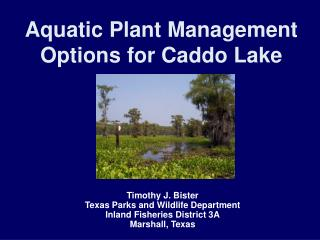 Aquatic Plant Management Options for Caddo Lake