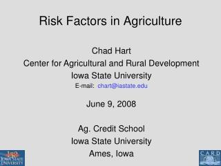Risk Factors in Agriculture