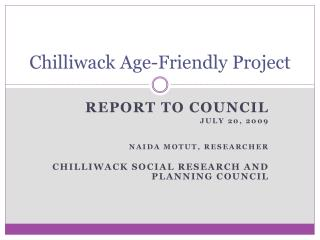 Chilliwack Age-Friendly Project