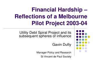 Financial Hardship   Reflections of a Melbourne Pilot Project 2003-04