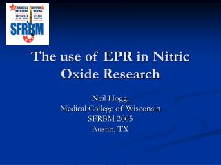 The use of EPR in Nitric Oxide Research