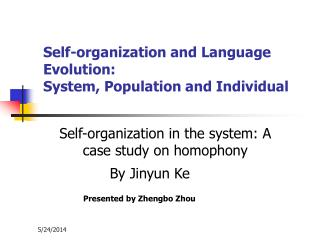 Self-organization and Language Evolution:  System, Population and Individual