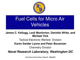 Fuel Cells for Micro Air Vehicles