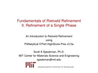 Fundamentals of Rietveld Refinement II. Refinement of a Single Phase