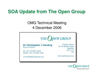 SOA Update from The Open Group