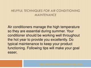 Helpful Techniques For Air Conditioning Maintenance