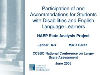Participation of and Accommodations for Students with Disabilities and English Language Learners  NAEP State Analysis Pr