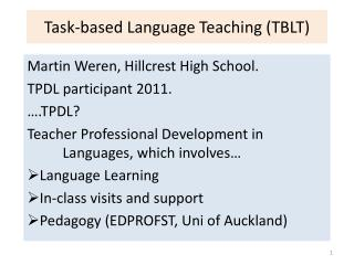 Task-based Language Teaching TBLT