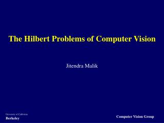 The Hilbert Problems of Computer Vision