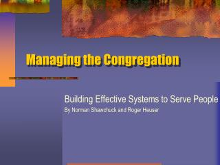 Managing the Congregation