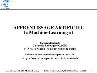 APPRENTISSAGE ARTIFICIEL   Machine-Learning