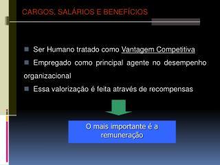 Ser Humano tratado como Vantagem Competitiva   Empregado como principal agente no desempenho organizacional   Essa valor