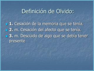 Definici n de Olvido: