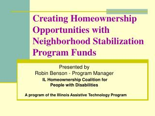 Creating Homeownership Opportunities with Neighborhood Stabilization Program Funds