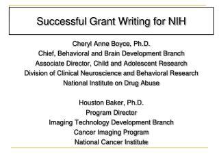 Successful Grant Writing for NIH