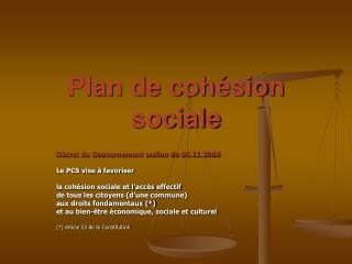 Plan de coh sion sociale