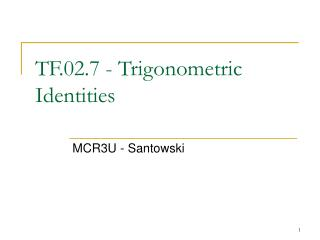 TF.02.7 - Trigonometric Identities