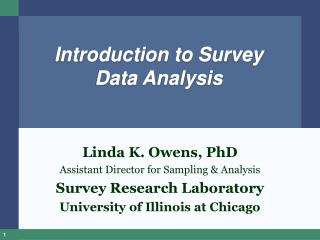 Introduction to Survey Data Analysis