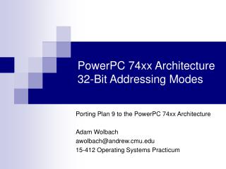 PowerPC 74xx Architecture 32-Bit Addressing Modes