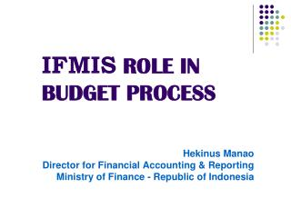 IFMIS ROLE IN  BUDGET PROCESS