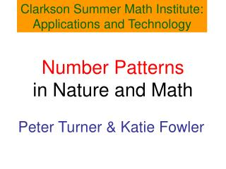 Number Patterns in Nature and Math