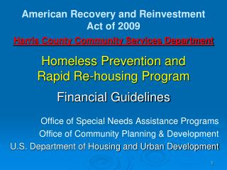 Harris County Community Services Department  Homeless Prevention and  Rapid Re-housing Program