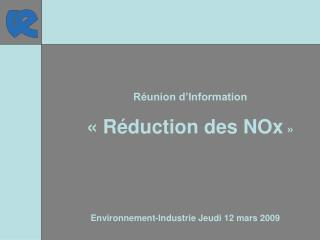 Environnement-Industrie Jeudi 12 mars 2009