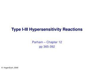Type I-III Hypersensitivity Reactions