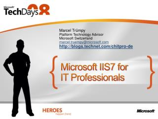 Microsoft IIS7 for  IT Professionals