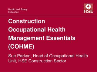Construction Occupational Health Management Essentials COHME