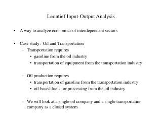 Leontief Input-Output Analysis