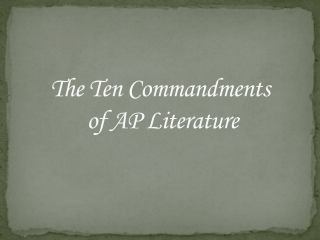 The Ten Commandments of AP Literature